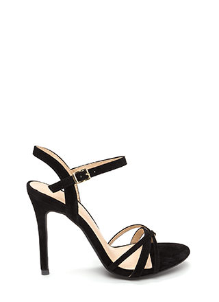 Three's Company Strappy Faux Suede Heels