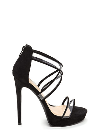 Clear Mind Strappy Faux Suede Heels