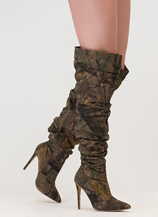 No Slouch Camo Print Thigh-High Boots