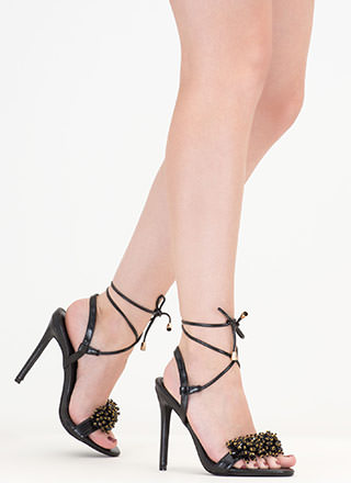 Bead Me To It Jeweled Lace-Up Heels