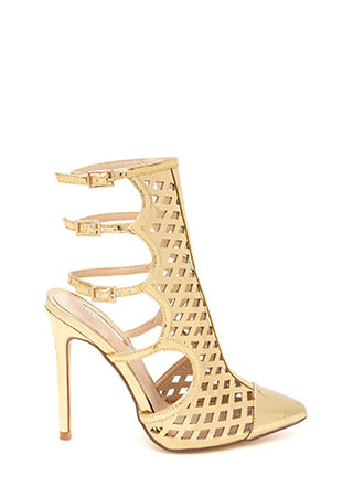 Lattice Help Caged Metallic Heels