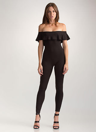 Chic Move Ribbed Off-Shoulder Jumpsuit