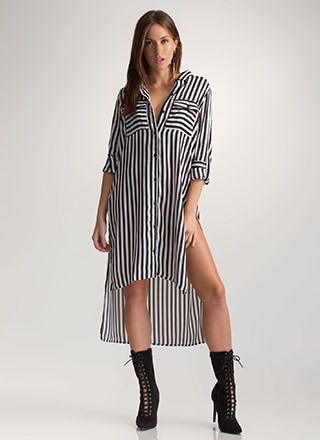Learn The Lines Striped Shirt Dress