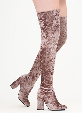 Walk-Off Crushed Velvet Thigh-High Boots