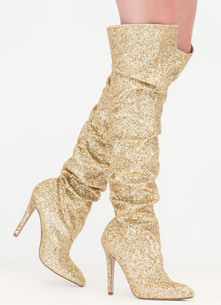 So Much Sparkle Glitter Thigh-High Boots