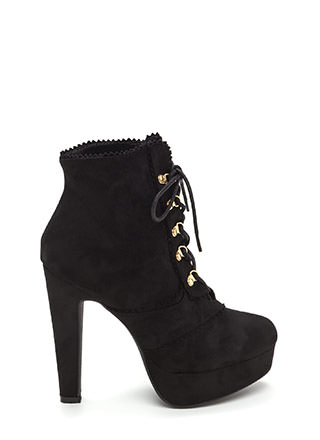 Think Pinked Platform Lace-Up Booties