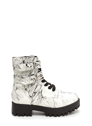 Lug Life Strappy Marbled Combat Boots