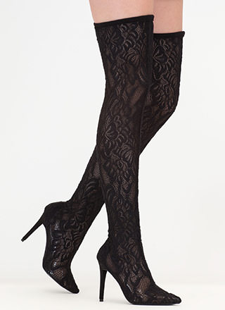 True Romance Lace Thigh-High Boots