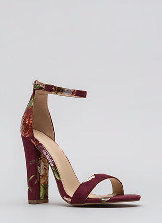 Foiled Flowers Chunky Ankle Strap Heels