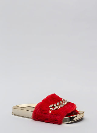 Link Up Chained Faux Fur Slide Sandals