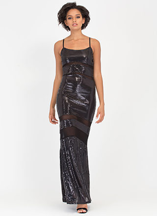 Sequined Mesh Inset Maxi Dress