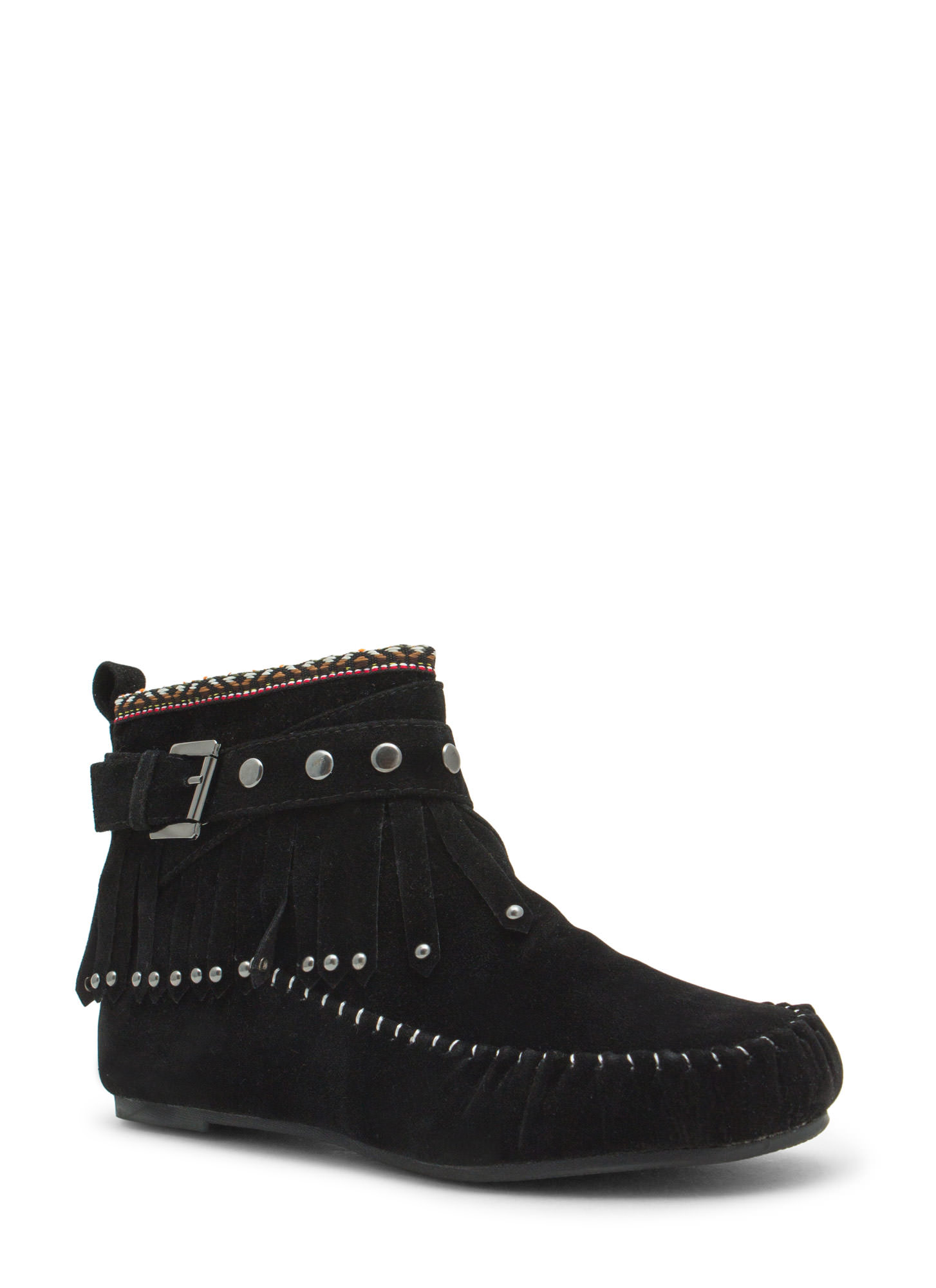 Tribal Talk Moccasin Booties BLACK