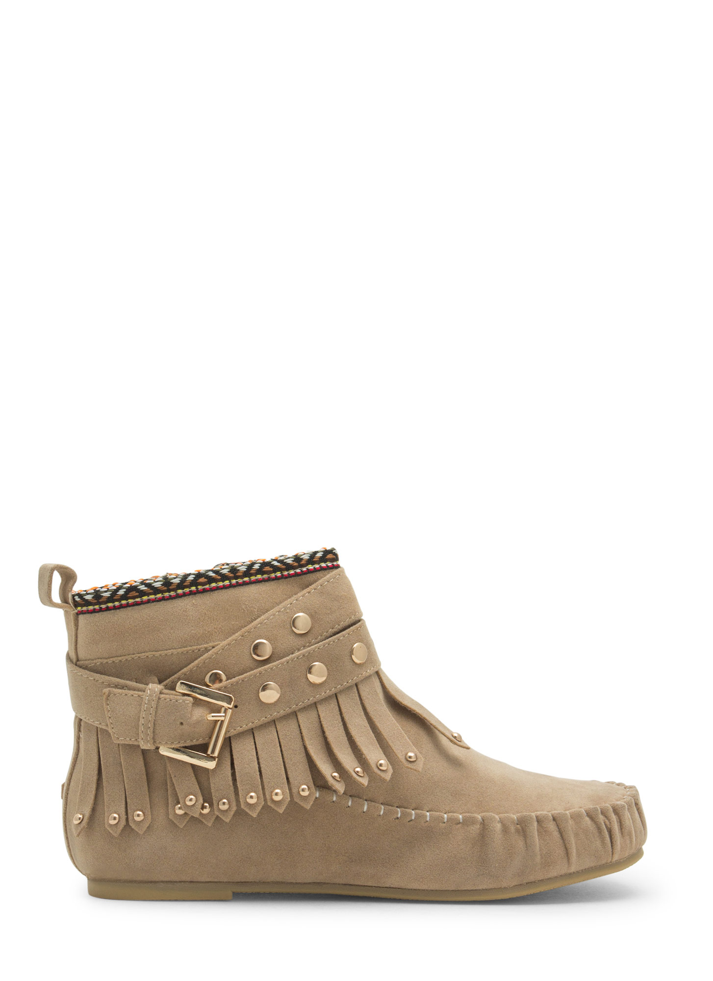 Tribal Talk Moccasin Booties TAUPE