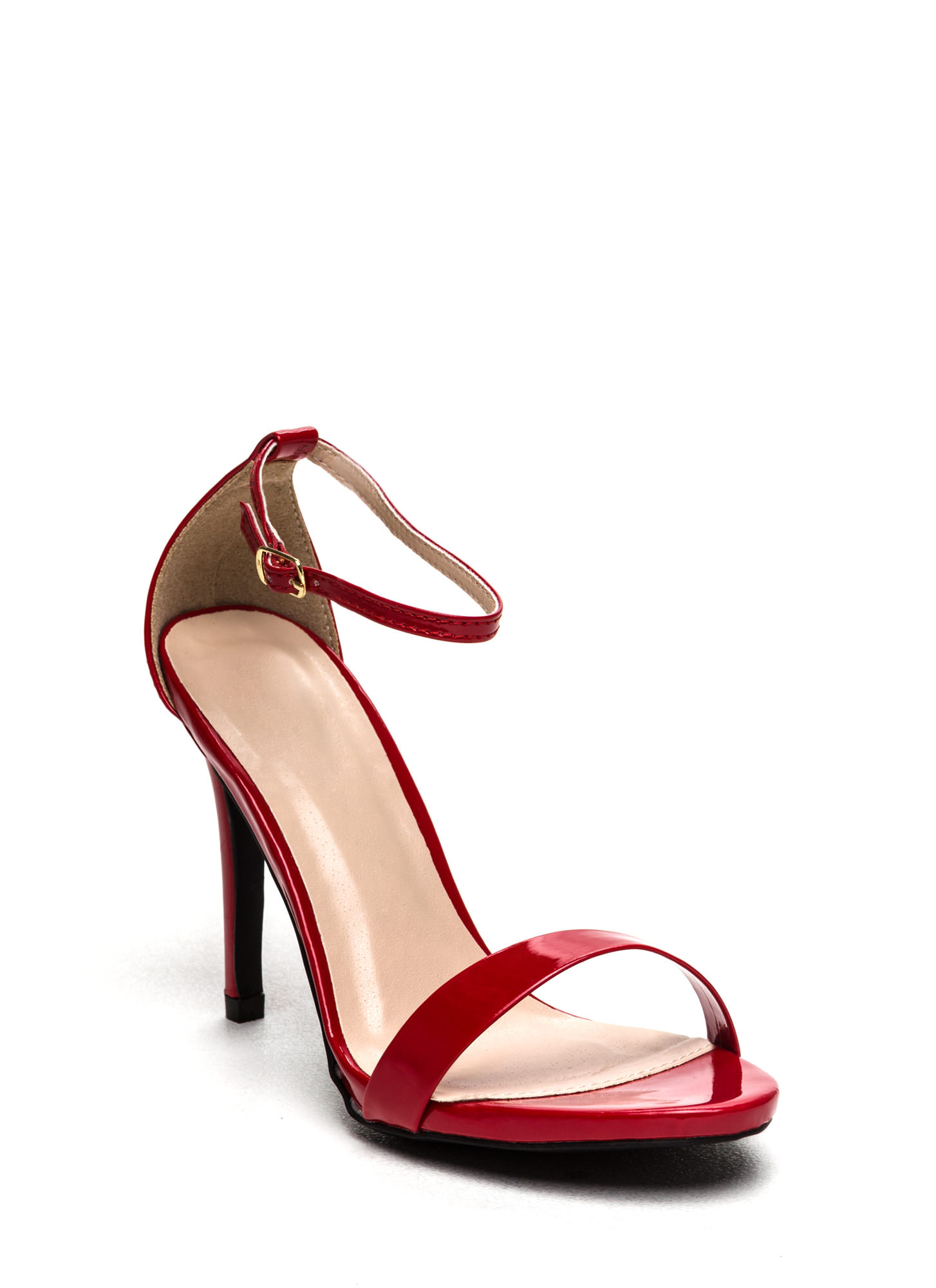 The Skinny Faux Patent Ankle Strap Heels RED