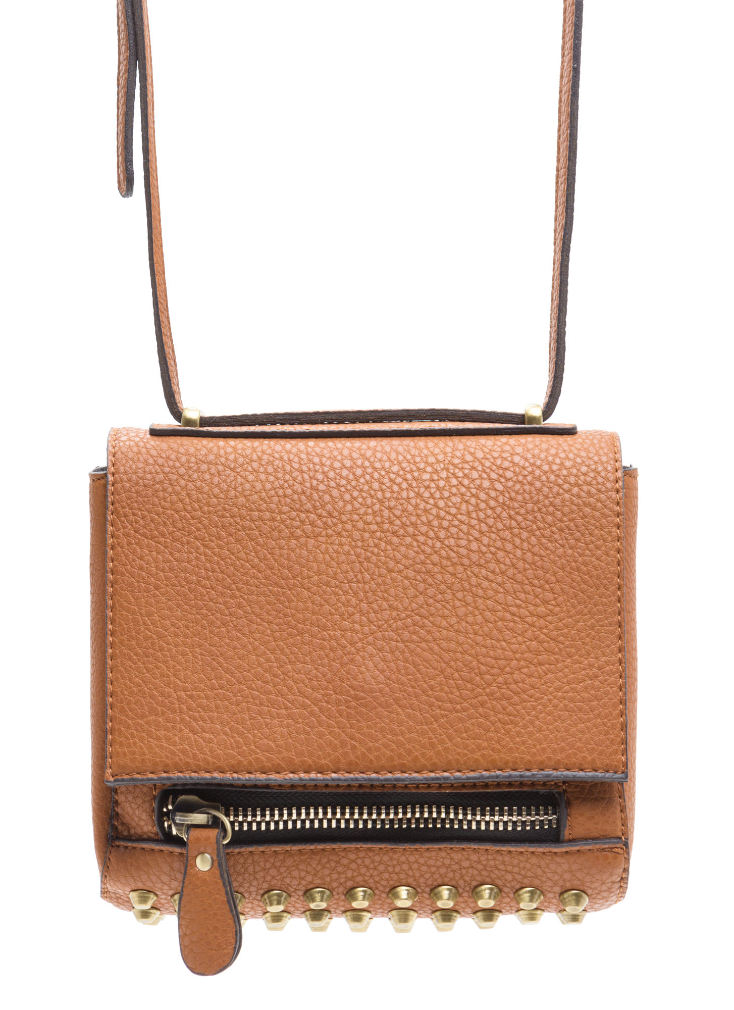 Rocker Studded Cross-Body Bag BROWN