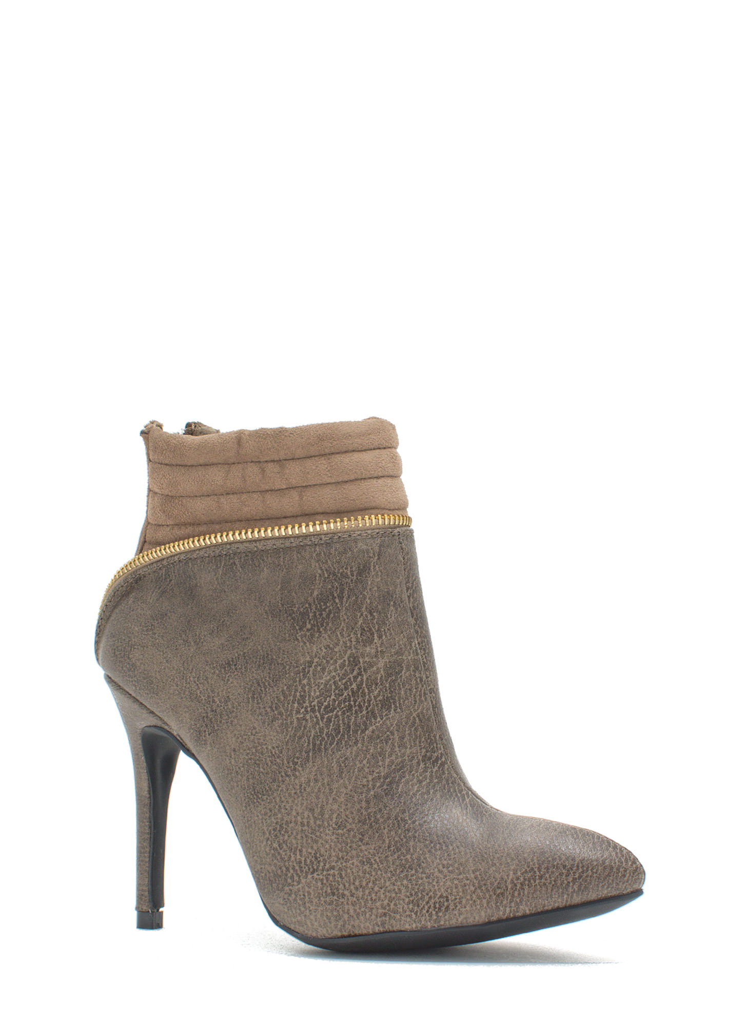 Zipping Around Padded Cuff Booties TAUPE