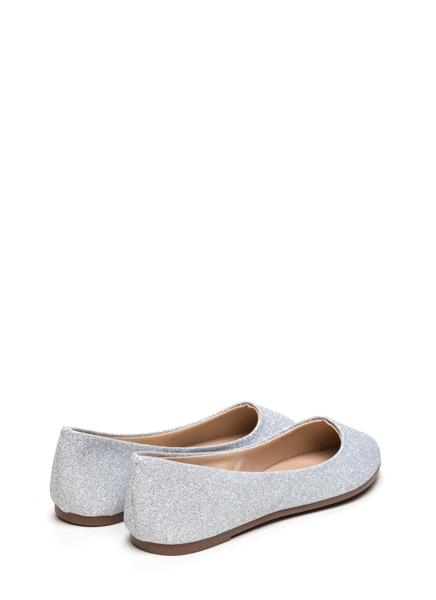 Flawless Round Toe Ballet Flats SILVER