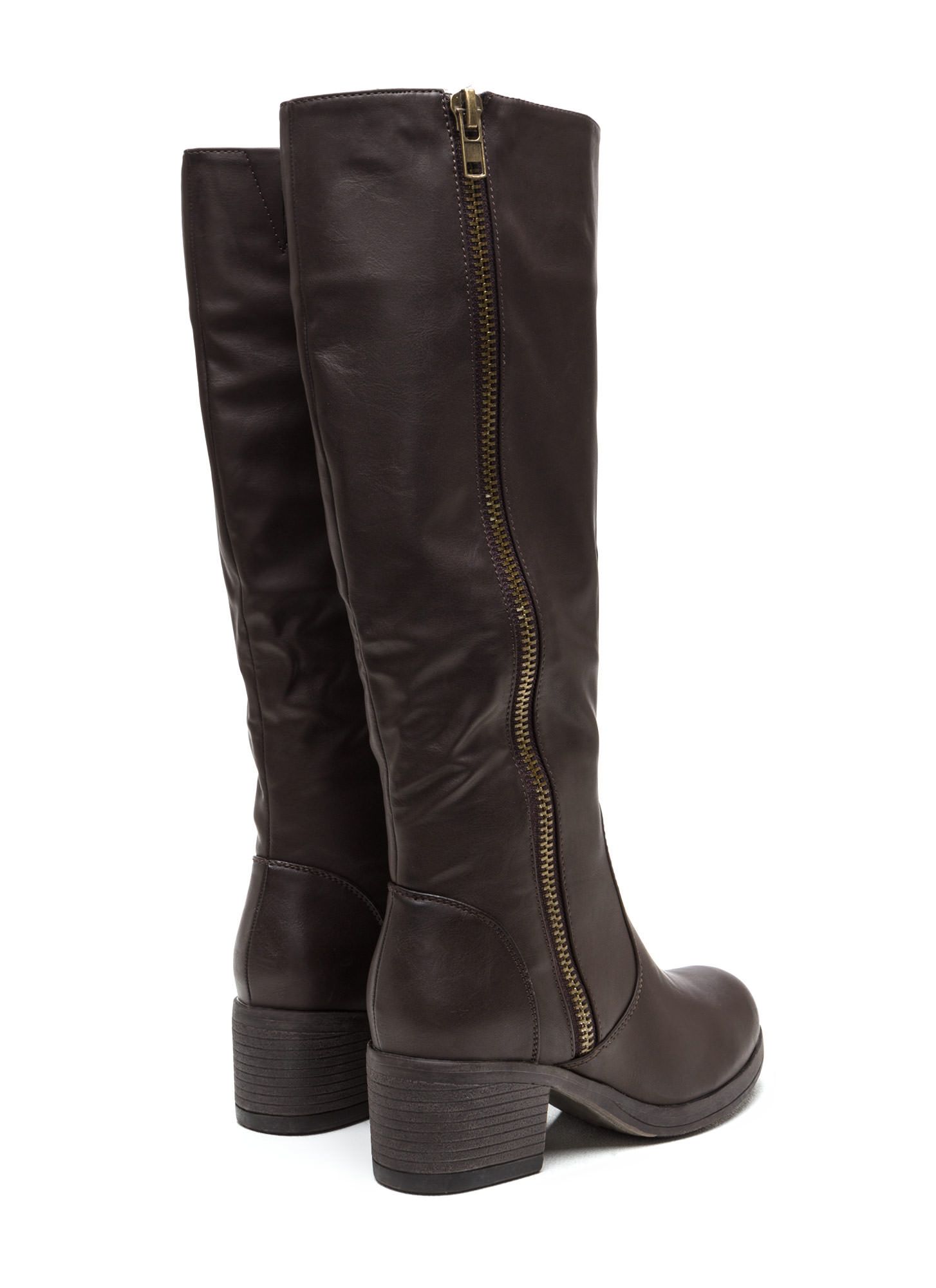 Zip Right Up Faux Leather Boots BROWN