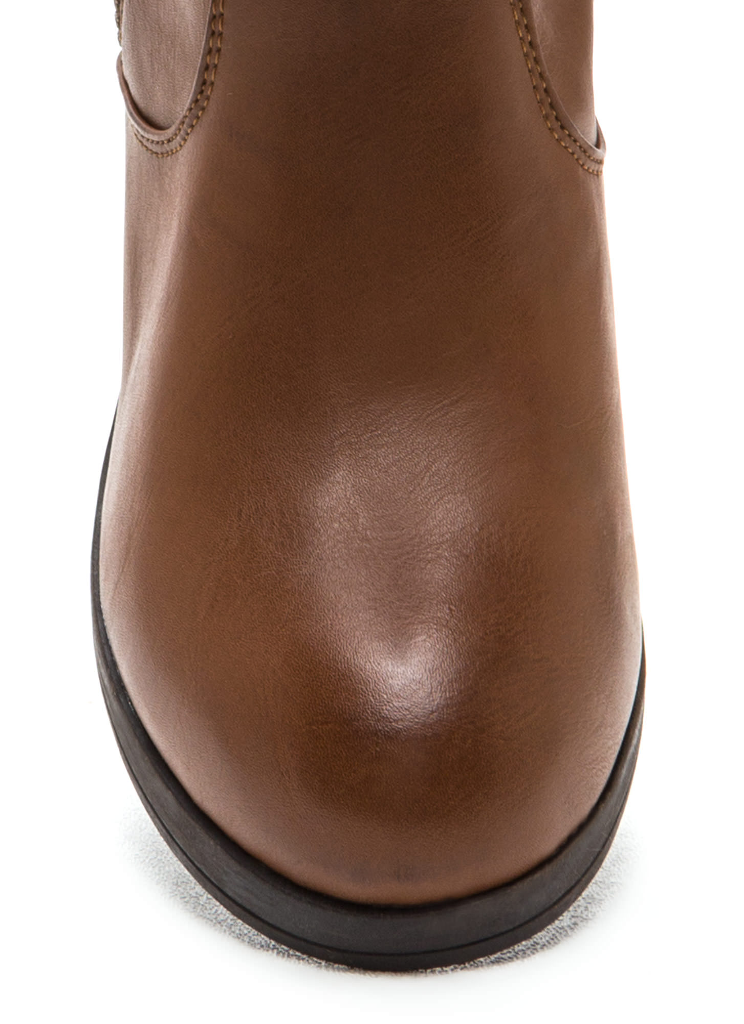 Zip Right Up Faux Leather Boots CHESTNUT