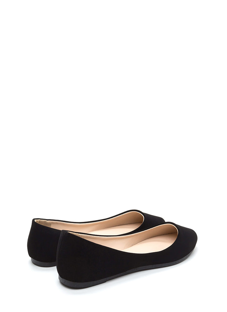 Flawless Basic Faux Nubuck Ballet Flats BLACK
