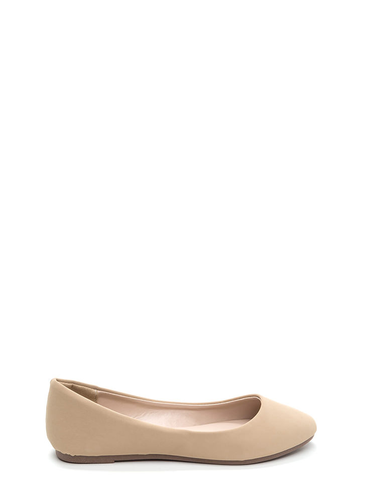 Flawless Basic Faux Nubuck Ballet Flats NUDE