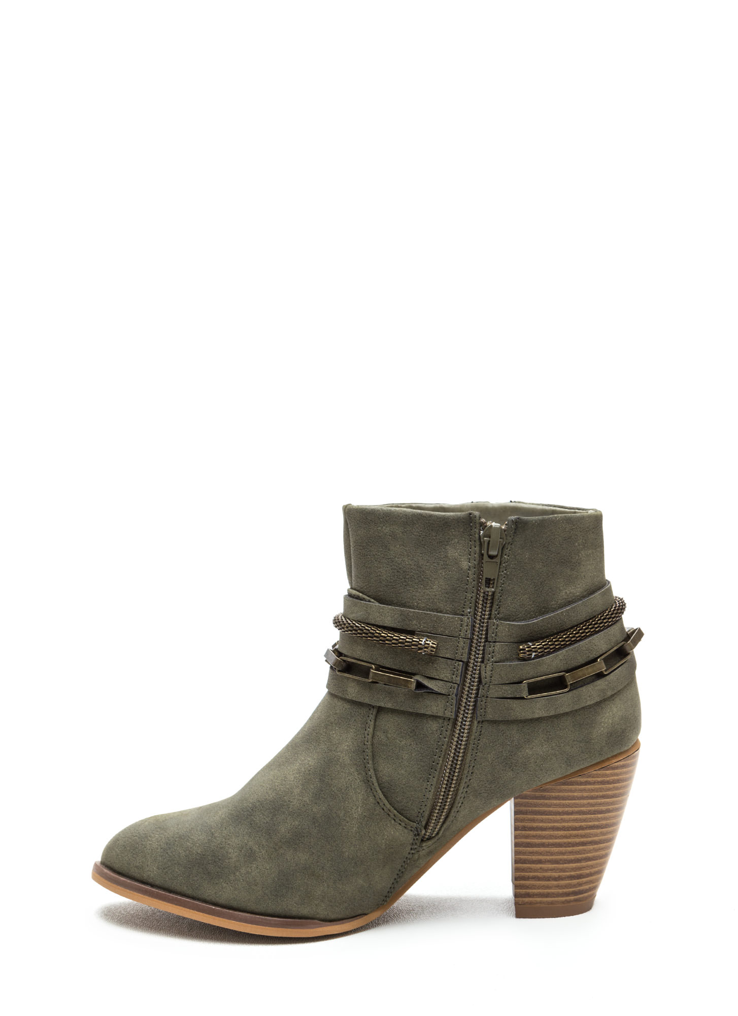 Mixed Chains Faux Leather Booties OLIVE