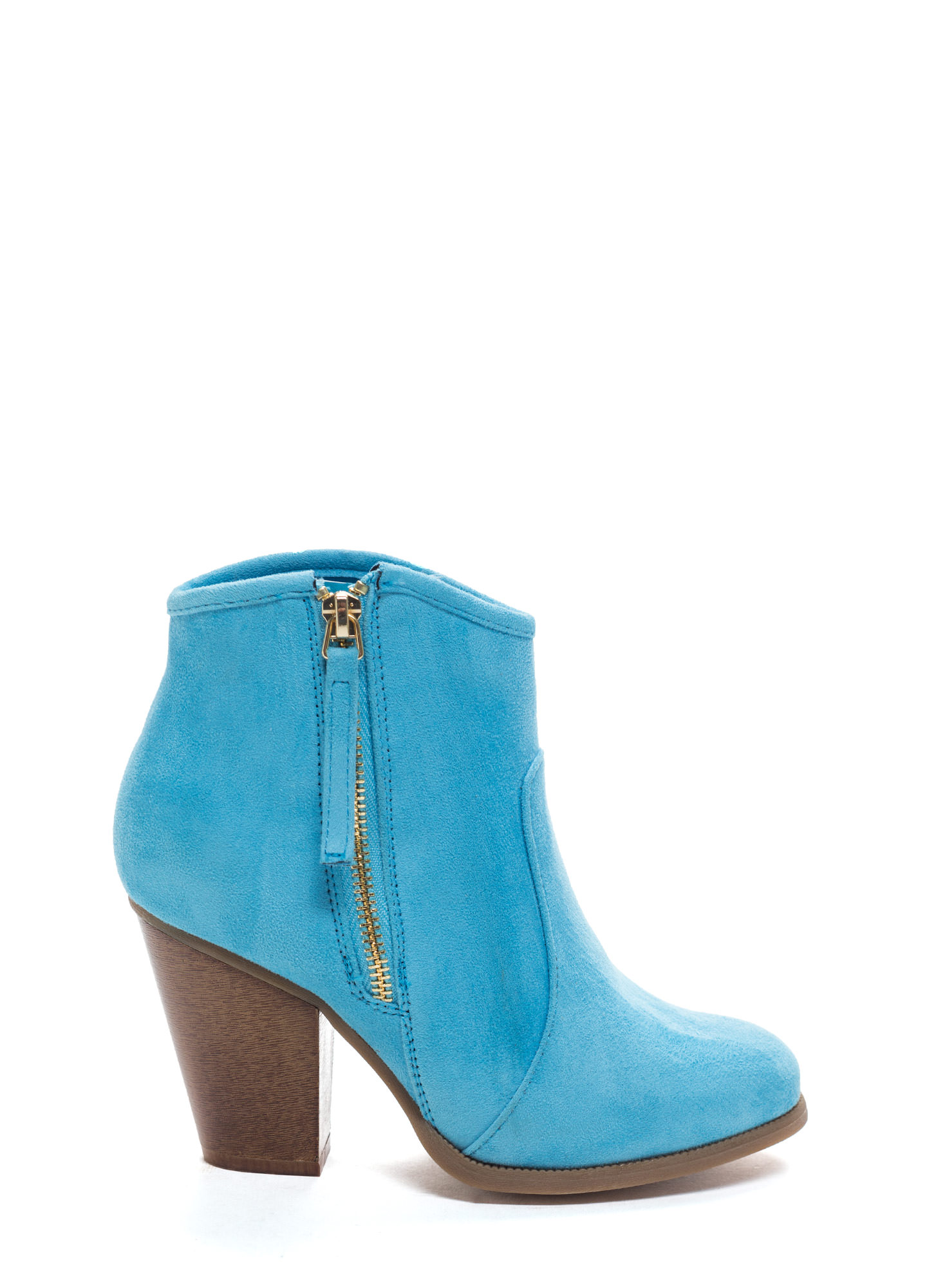 Zipped To The Top Chunky Booties BLUE