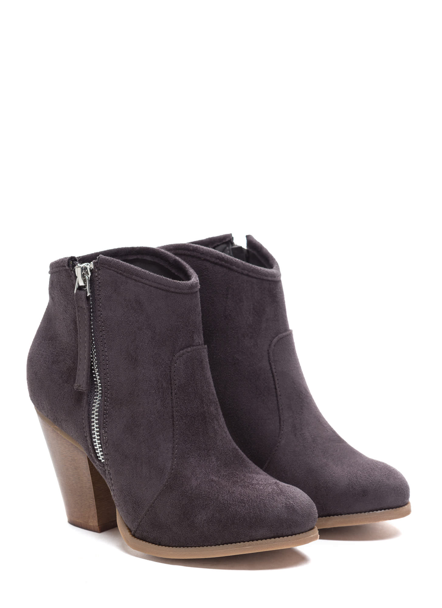 Zipped To The Top Chunky Booties CHARCOAL