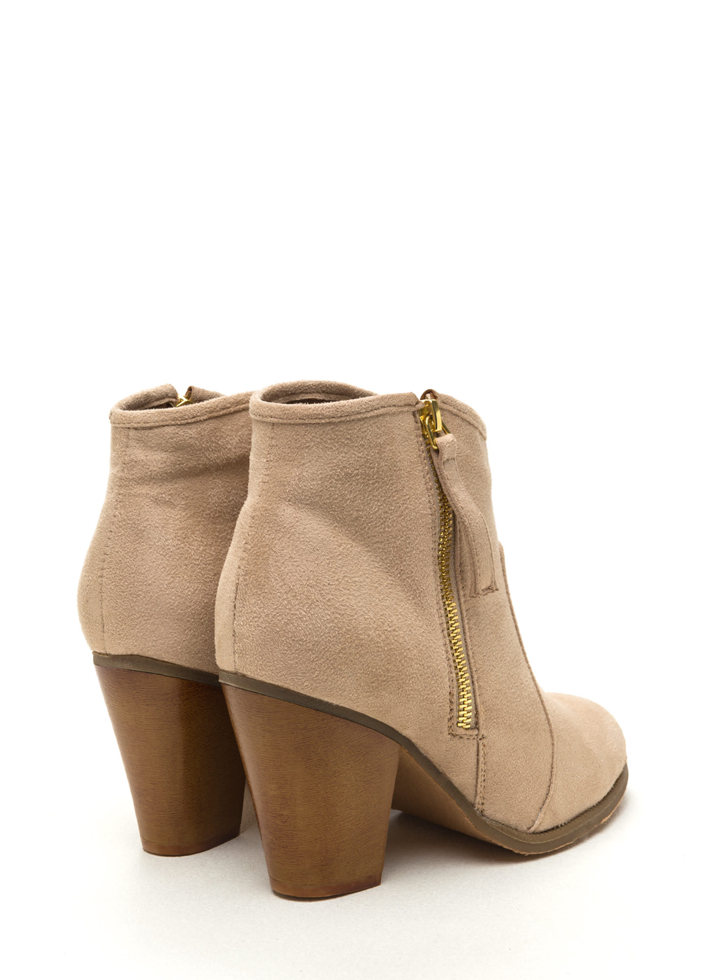 Zipped To The Top Chunky Booties NUDE