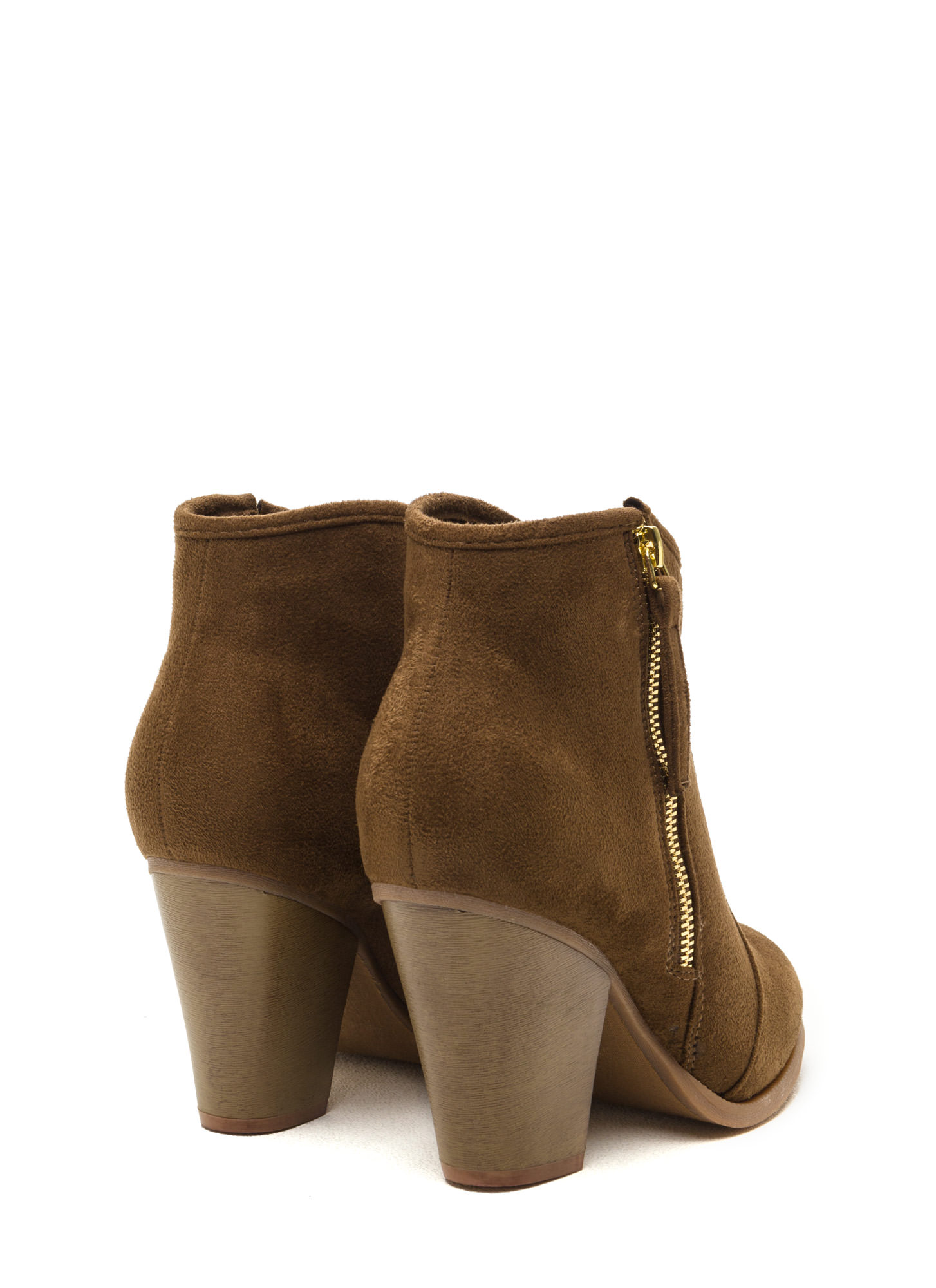 Zipped To The Top Chunky Booties OLIVE