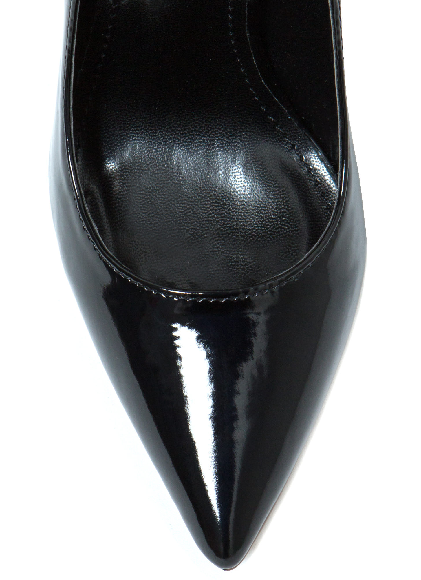 Point Of Contact Faux Patent Heels BLACK