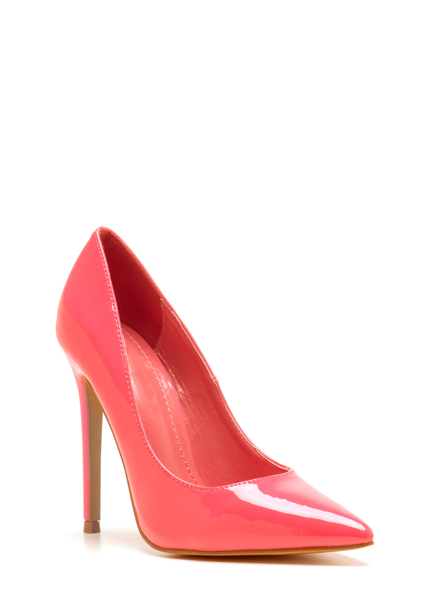 Point Of Contact Faux Patent Heels CORAL