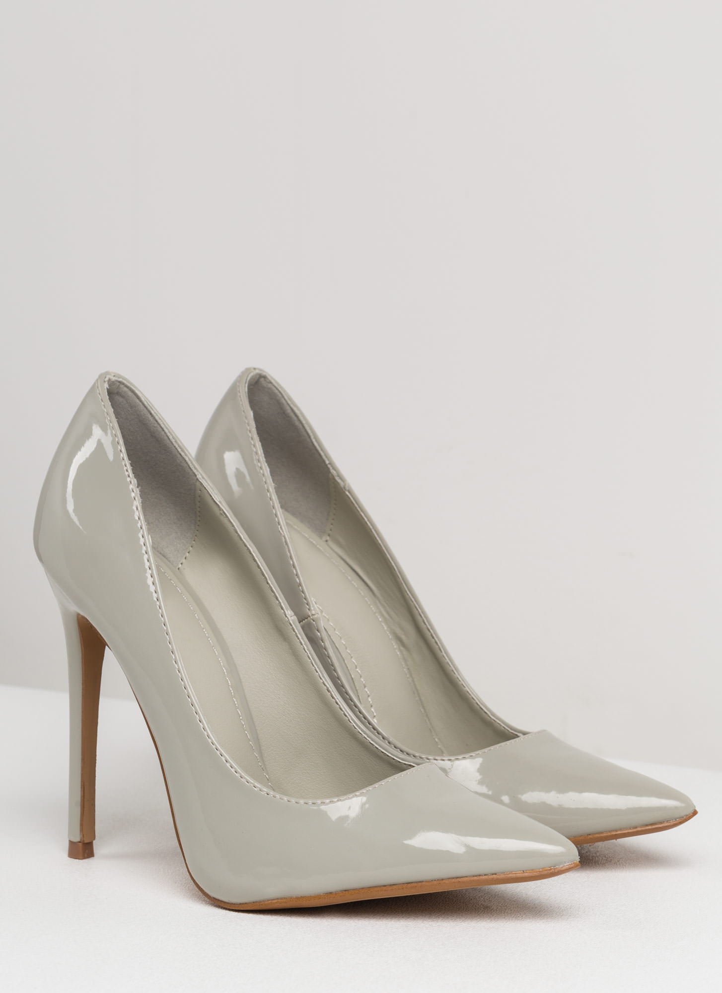 Point Of Contact Faux Patent Heels GREY