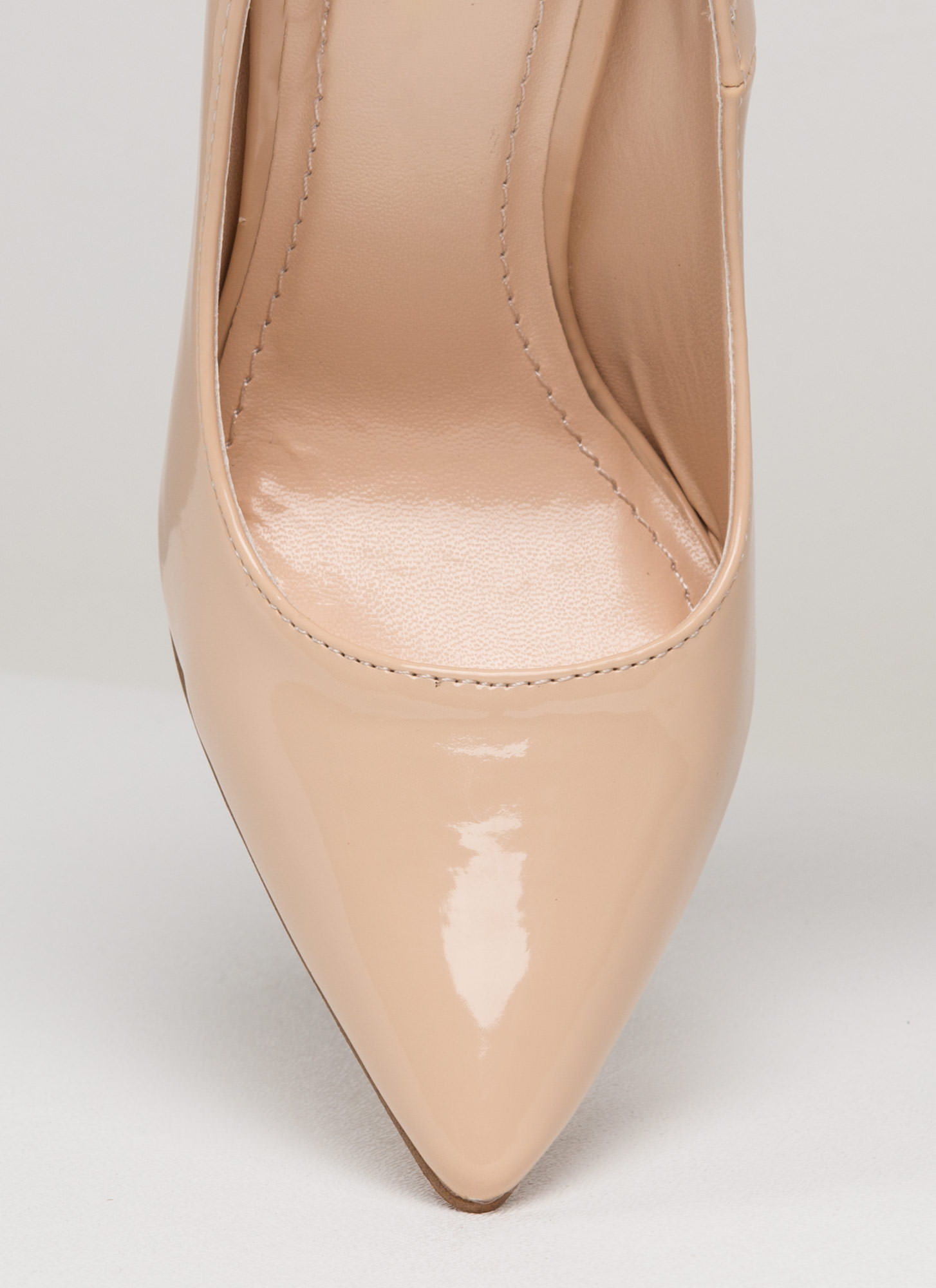 Point Of Contact Faux Patent Heels NUDE