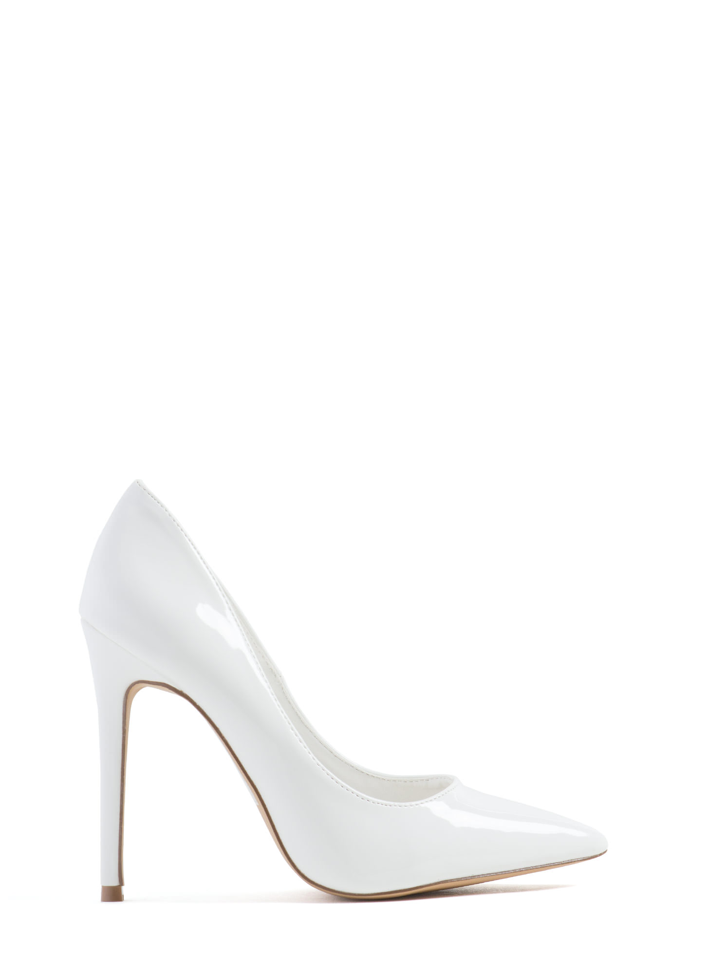 Point Of Contact Faux Patent Heels WHITE