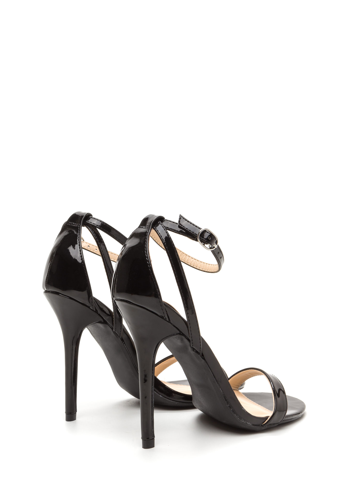 Slick Move Strappy Faux Patent Heels BLACK