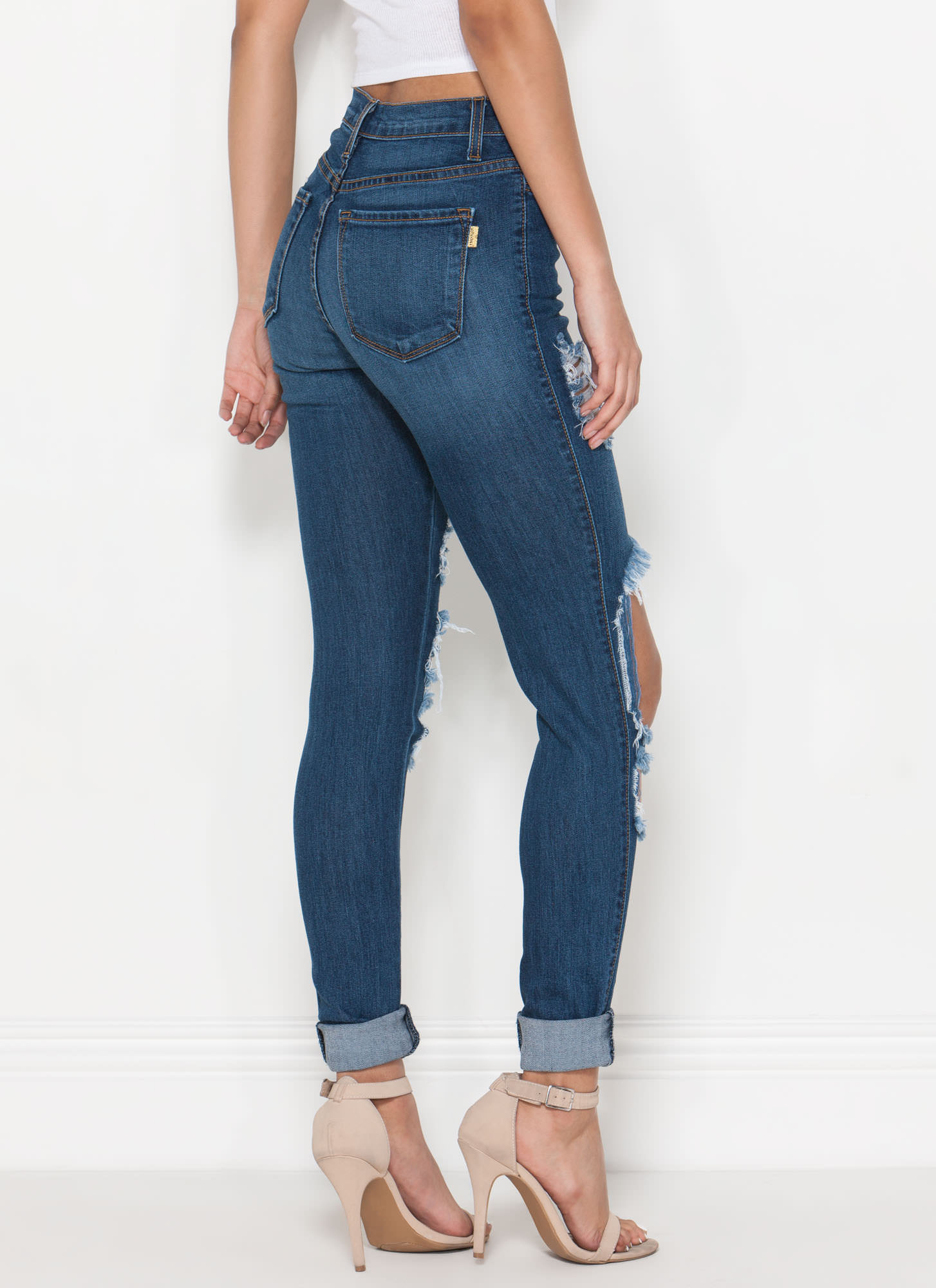 Deconstructed Stone Washed Jeans BLUE