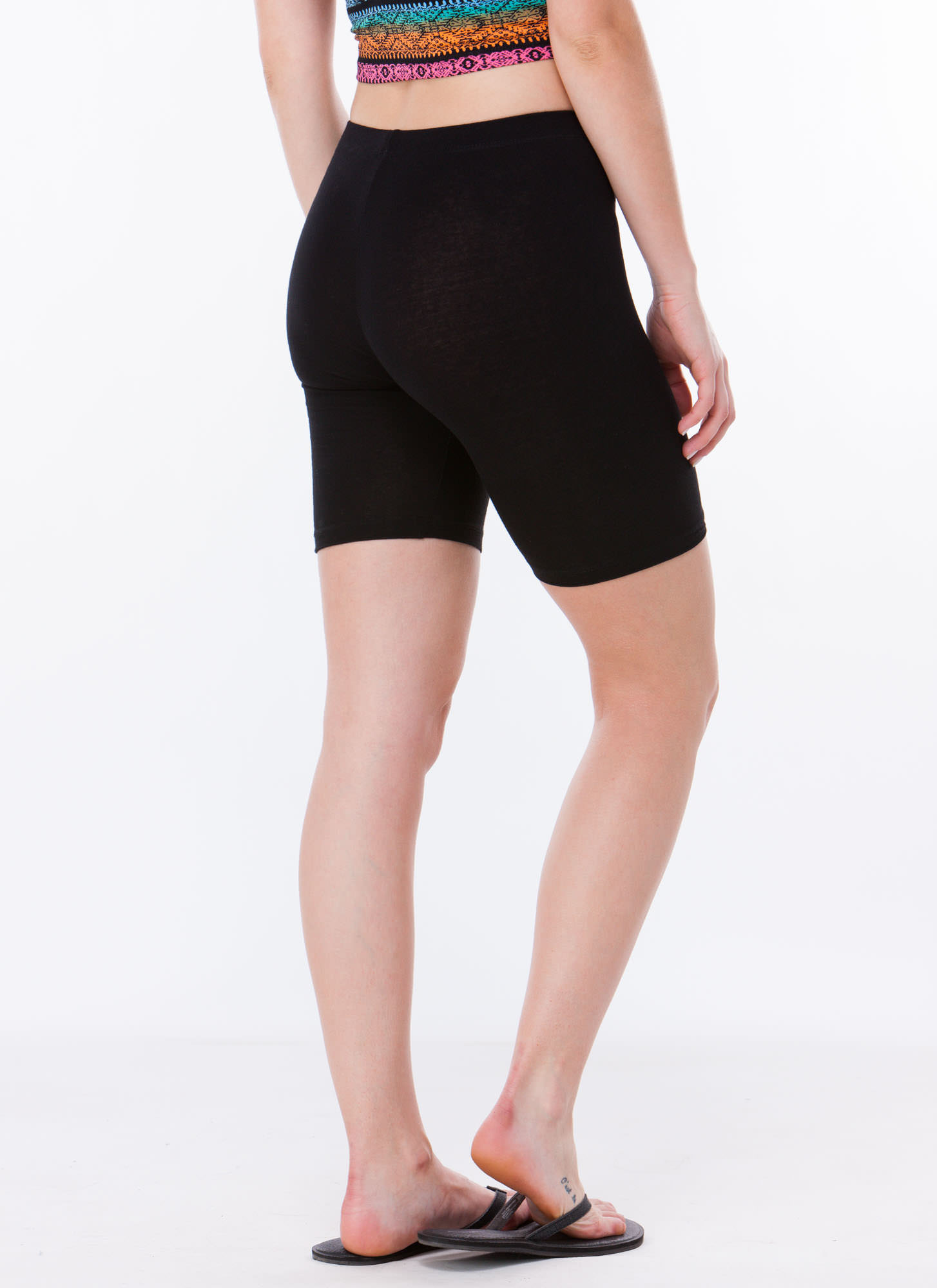Do Me A Solid Stretchy Biker Shorts BLACK