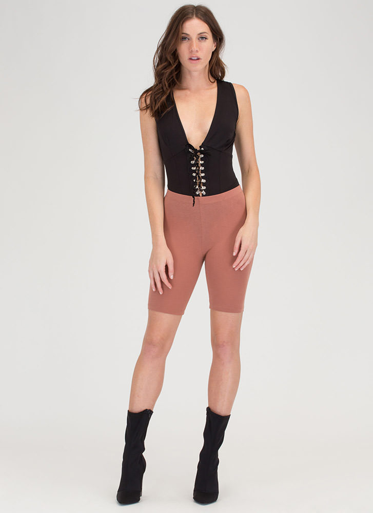 Do Me A Solid Stretchy Biker Shorts MOCHA
