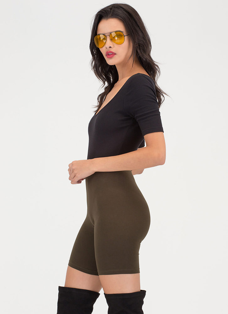 Do Me A Solid Stretchy Biker Shorts OLIVE