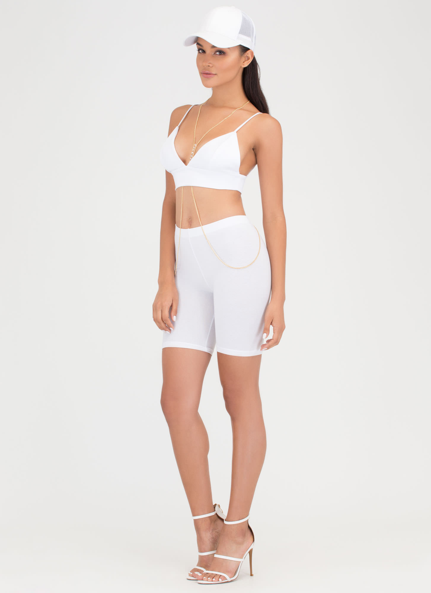 Do Me A Solid Stretchy Biker Shorts WHITE
