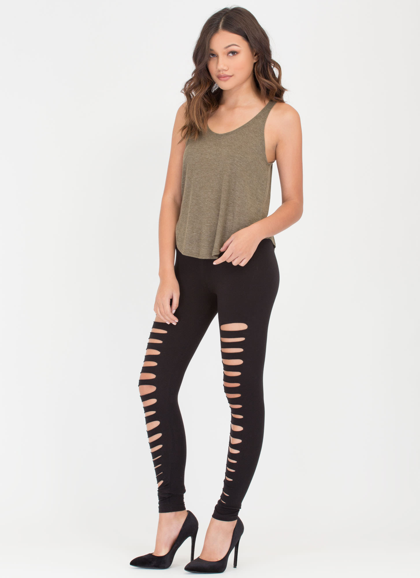 Holy Slit Shredded Front Leggings BLACK