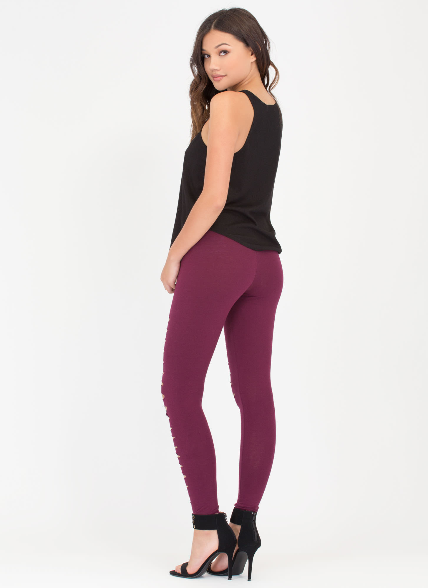 Holy Slit Shredded Front Leggings MERLOT