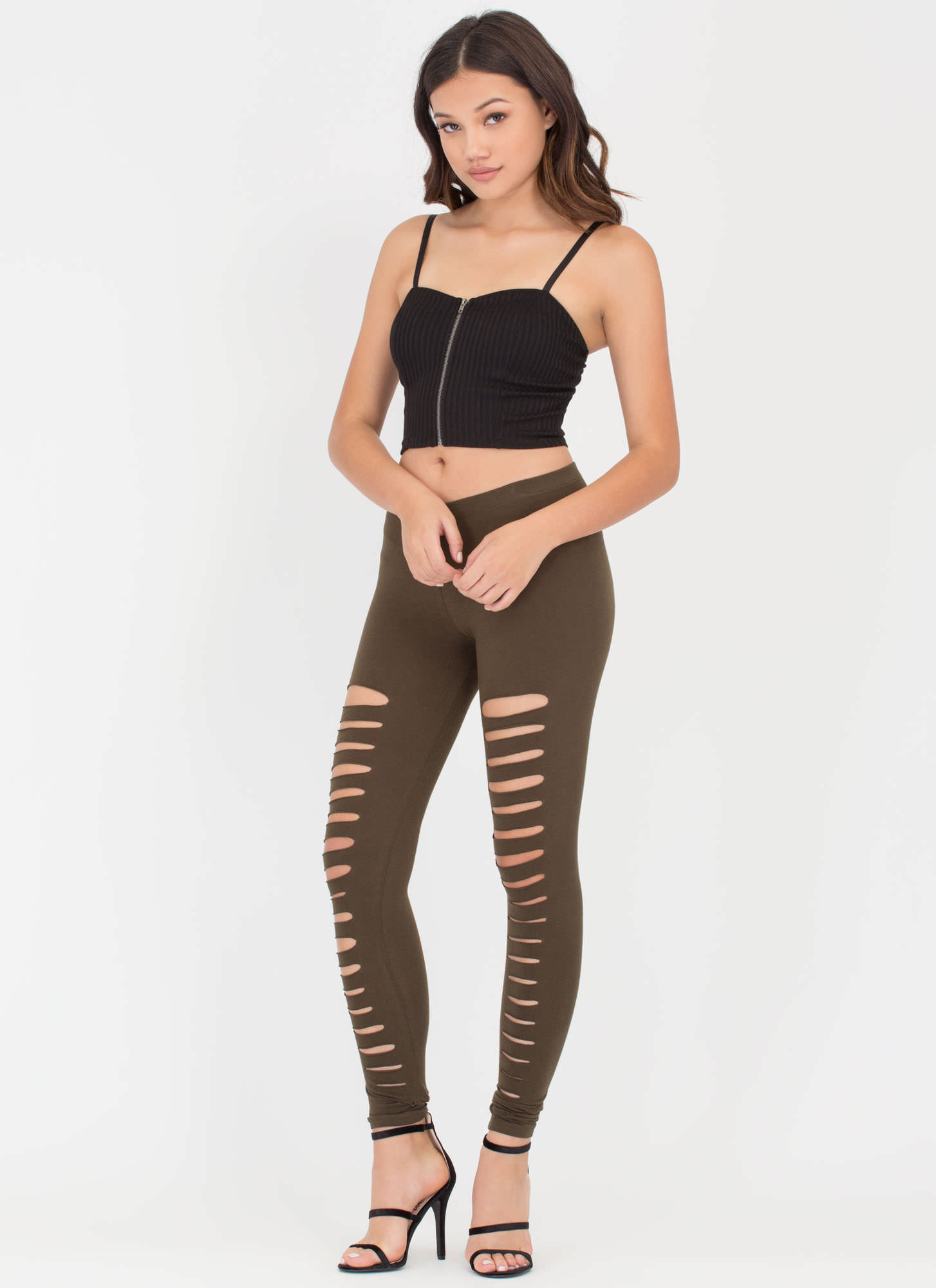 Holy Slit Shredded Front Leggings OLIVE