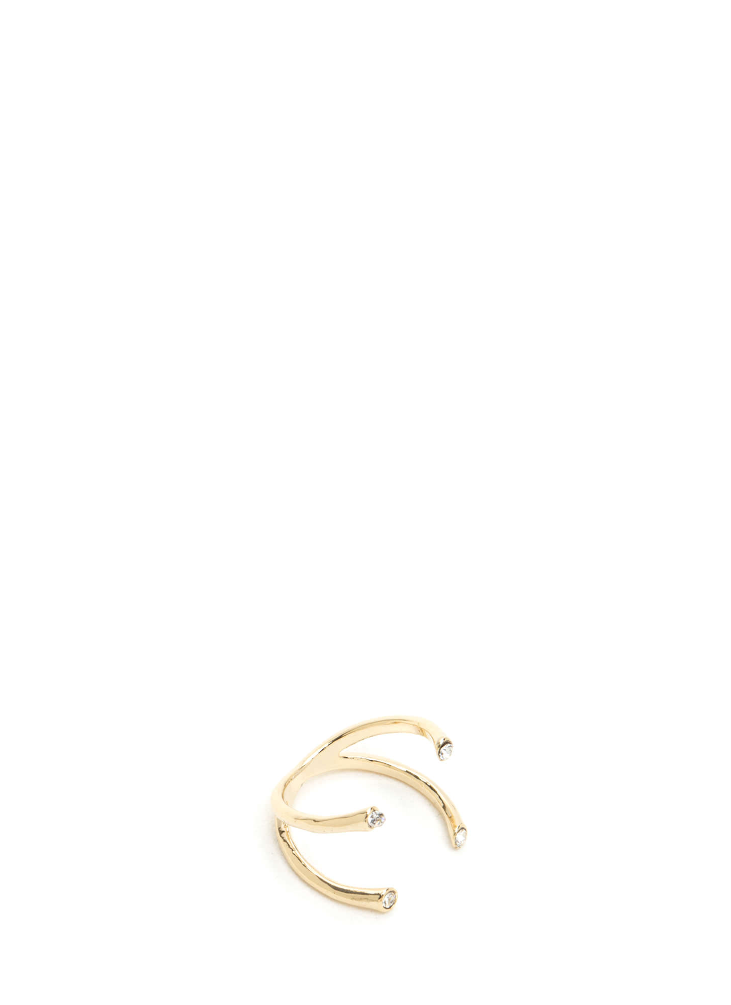 Quad Prong Embellished Ring GOLD