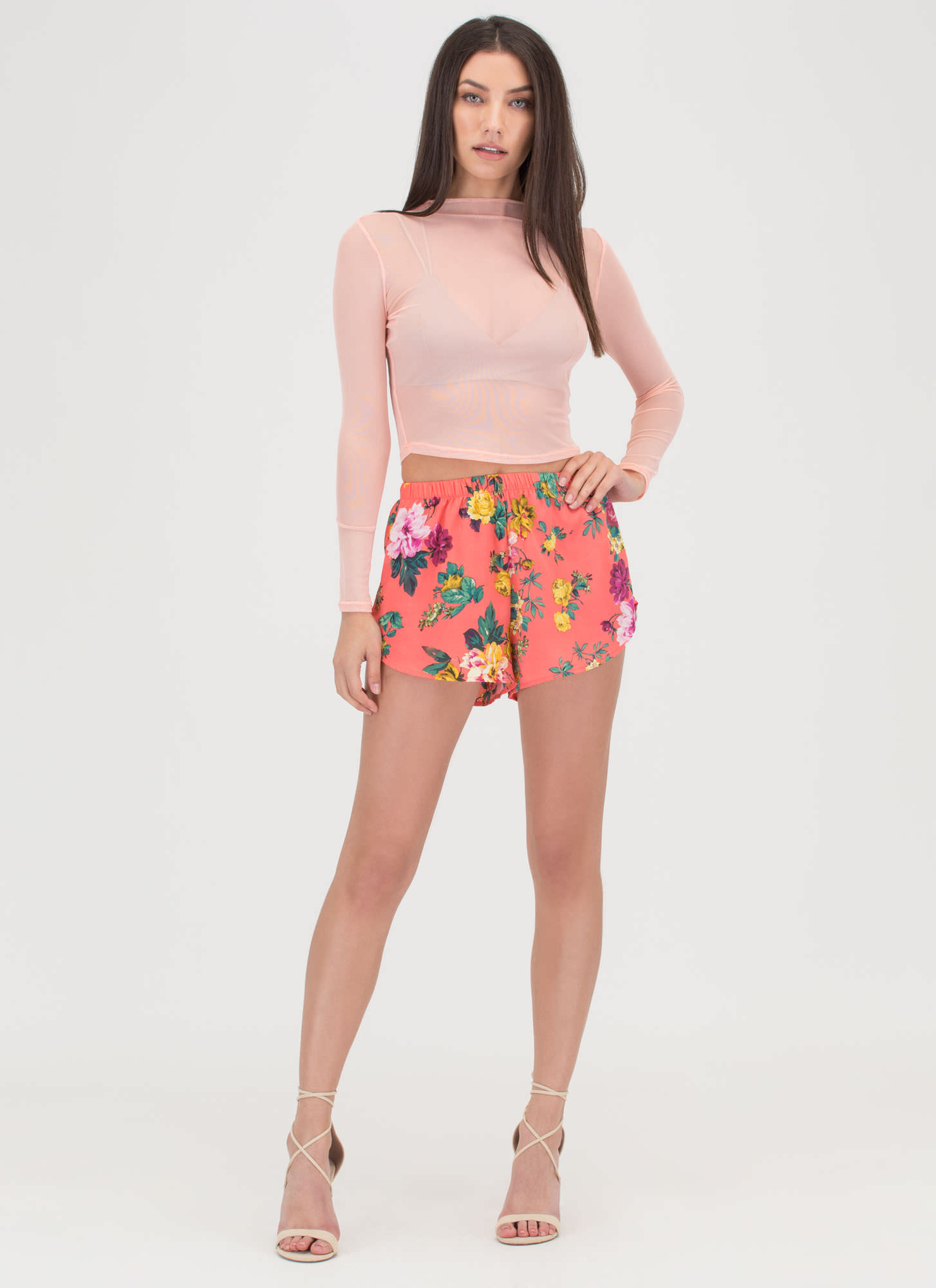 Flower Movement Shorts CORAL