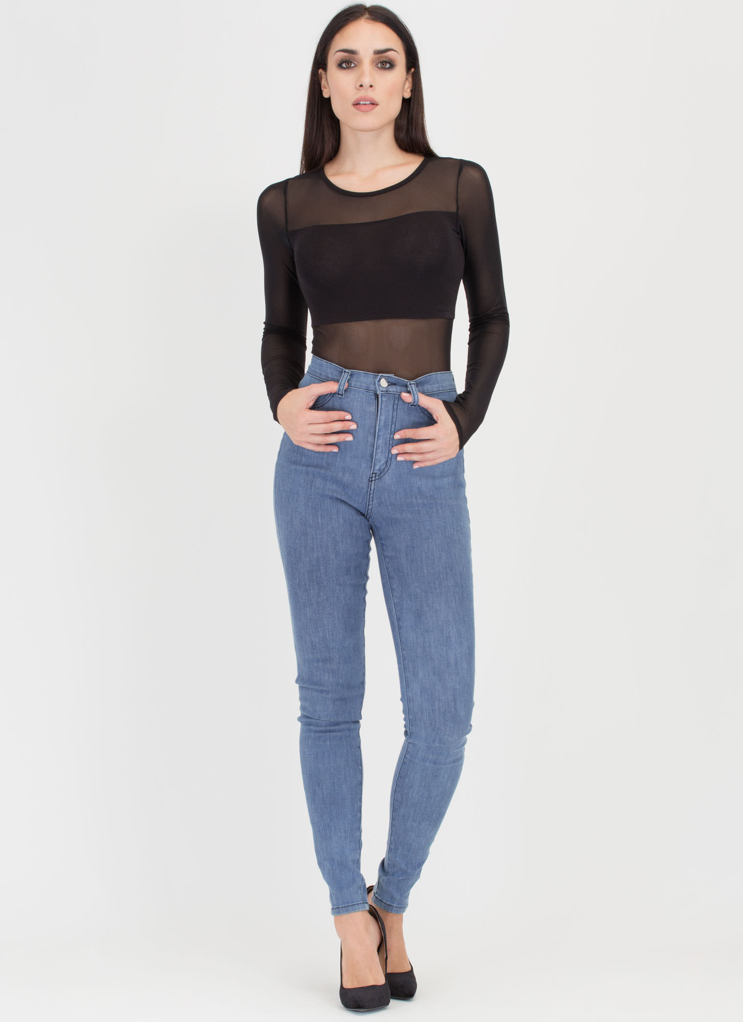 Simple As That High-Waisted Jeans BLUE