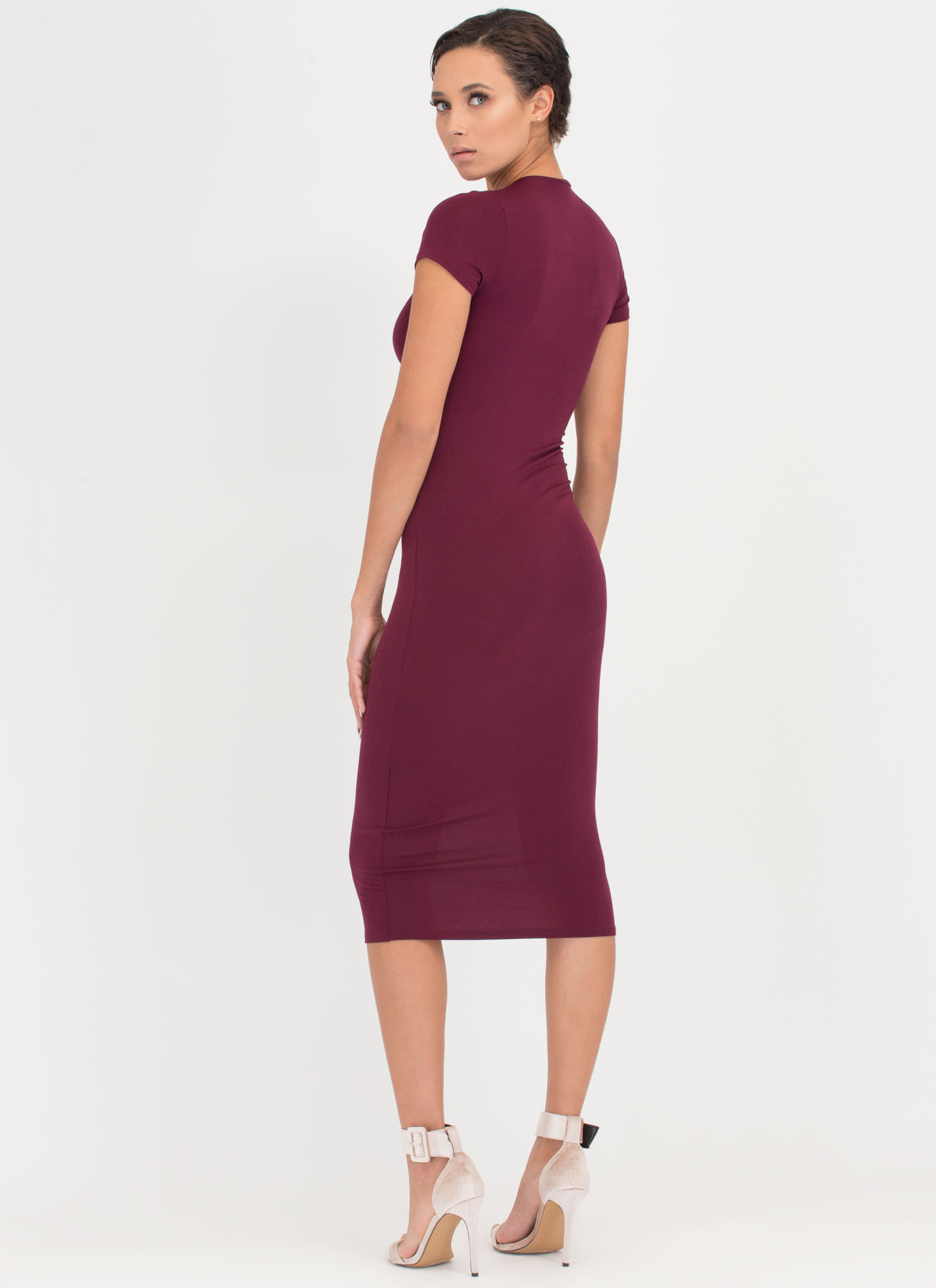 Heartbreaker Babe Bodycon Dress BURGUNDY