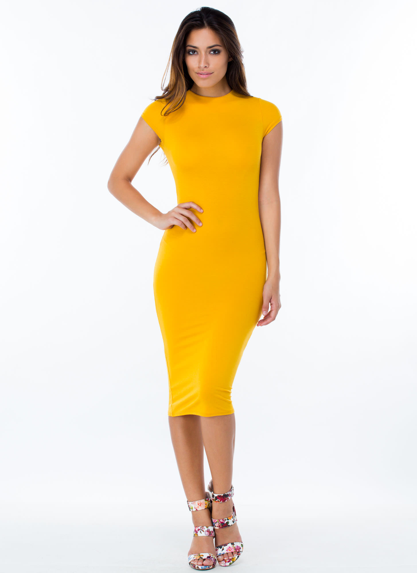 Heartbreaker Babe Bodycon Dress MUSTARD