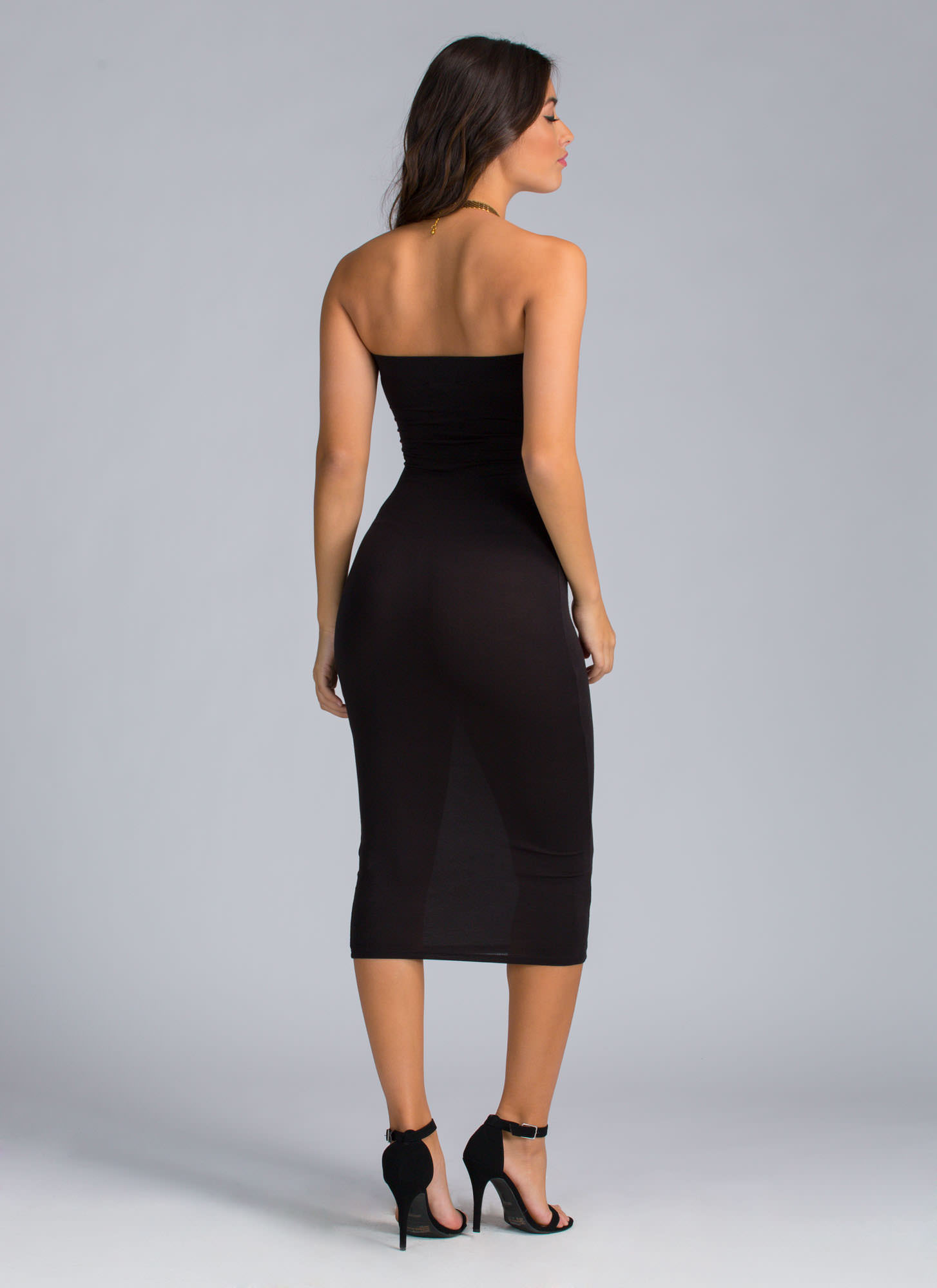 Keep It Simple Tube Midi Dress BLACK